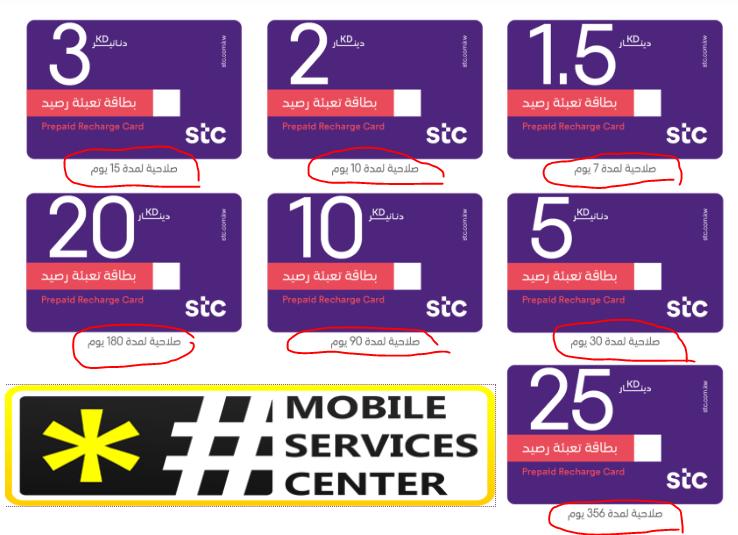 بطاقات التعبئة ومدد الصلاحية لكل بطاقة